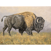 Greg Wilson Western Oil Painting of a Buffalo or Bison