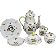 Herend Rothschild Bird Pattern 6 pc Porcelain Coffee / Tea Service