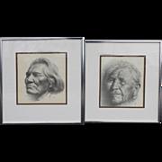C. Jones Signed Pair of Graphite Drawings of Native American Elders