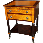 Two-Drawer Sheraton Side Table or Work Stand with Extensive Inlay, circa 1820