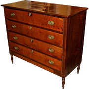 Sheraton Federal Period Mahogany Four Drawer Chest with Birds Eye Maple Front