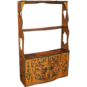 18th c French Foliate Hand Painted Two Door Serpentine Front Wall Cabinet