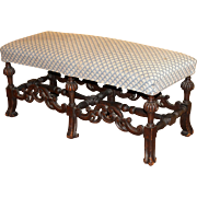 William & Mary Style Upholstered Walnut Bench