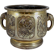 19th / 20th c Chinese Bronze Decorated Planter with Elephant Handles