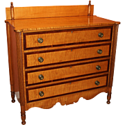 Federal Period Sheraton Tiger Maple & Cherry Four Drawer Chest