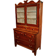 19th c Late Sheraton New England One Piece Chest and Bookcase