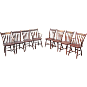 Assembled Set of Eight 19th Century Grain Painted Arrowback Windsor Chairs