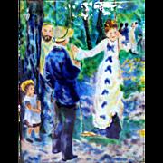 After Renoir, Impressionist Foil & Enamel on Copper Plaque in Silver Plate Frame