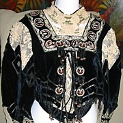 Antique 19th C Century VICTORIAN Embroidered French CELTIC Brittany Wedding Top Bodice DIVINE!