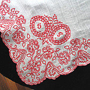 VALENTINE! Antique French VICTORIAN Hankie Handkerchief Embroidered Redwork EMBROIDERY RARE!