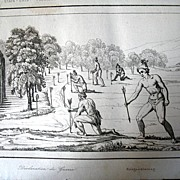 Antique 19th C Century Engraving Print NATIVE Florida Indians Declaring War Very RARE!