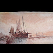 Antique 18th C Century SEPIA Watercolor Painting Venice GRAND TOUR Signed Very ELEGANT!