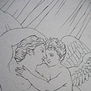 SOLD Antique French Erotic Print Lithograph VENUS Cupid 19th C Century EXCELLENT!