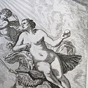 Antique 17th C Century NUDE Small Print/Engraving Venus Holding Apple with Cupid/Putti After .