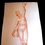 Antique French NUDE Drawing Napoleon III LADY with Pigeons LARGE 19th C Century FABULOUS!
