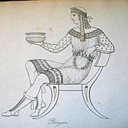 Antique REGENCY Thomas HOPE Museum 19th C Century Print Engraving HANDSOME Greek Male TO DIE .
