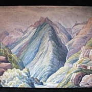 Antique 19th C Century English PRE RAPHAELITE Watercolor Painting of Pyrenees Mountains Very .