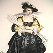 Antique FRENCH Print with Watercolor After RUBENS RENAISSANCE Lady 19th C Century Signed ...
