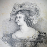 Antique 19th C Century GEORGIAN Aristocratic Lady Portrait Charcoal Drawing SIGNED Dated ...