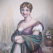 Antique French EMPIRE Napoleon Print With Watercolor Portrait of Hortense De Beauharnais 19th