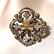 Antique Victorian Pin Brooch French Napoleon III FLEUR de Lis SHAMROCKS 19th C Century EXQUISI