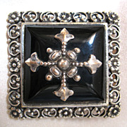Antique French Edwardian Mourning Pin Brooch With Cross Faux Onyx Large Ornate Men Women STUNN