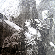 Antique 18th C Century French Print Engraving MEDEA After Charles Eisen POWERFUL!