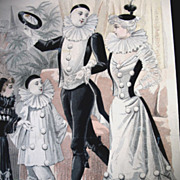 Antique French Art Nouveau Print Lithograph PIERROT Columbine Hand Watercolor Signed DIVINE!