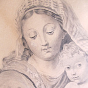 Antique Charcoal Drawing LARGE  MADONNA And Child Eating Grapes 19th C Century Signed MAGNIFIC