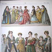 Antique Victorian Print Lithograph ITALIAN Renaissance Ladies 19th C Century Large WOW!