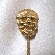 Antique Fun HEAD Stick Pin Stickpin French EDWARDIAN Gold Filled WOW!