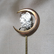 Antique French Victorian Stickpin Stick Pin WOMAN in MOON Crescent  Men Women Rolled Gold  WOW