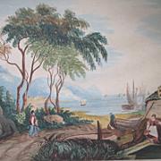 Antique Victorian ITALIAN Watercolor Painting Coastal Village Landscape 19th C Century VERY ..
