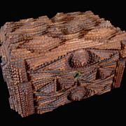 SOLD Antique Black Forest TRAMP Art Box 19th C Century PINK Velvet Key FANTASTIC!