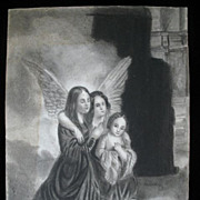 Antique Charcoal Drawing FRENCH Revolution 3 SISTERS Hugging in Jail 18th C Century LARGE ...
