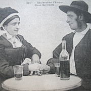 Antique 1900 French Postcard COUPLE Declaring Their Love with BOTTLE of WIne!