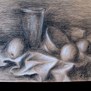 French STILL LIFE Chartcoal Drawing Fruit Cups Signed Simply AMAZING!
