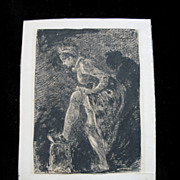 Antique French Impressionistic Miniature Ink Drawing Woman Adjusting Her Stockings 19th C Cent