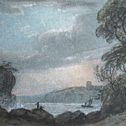 Antique Victorian Seascape Marine Small Pastel Painting 19th C Century DIVINE!