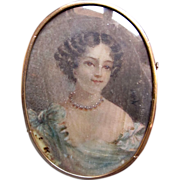 Antique French Edwardian Pin Brooch with Very LARGE Miniature Portrait DIVINE!