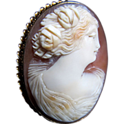 Antique Edwardian 10k GREEK Goddess Cameo Pendant Pin Brooch Massive Gold Setting DIVINE!