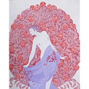Vintage French Art DECO NUDE 1916 Signed Print STUNNING!