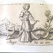 Antique Set of Four 16th C Century FRENCH Prints Engravings LIFE of a WOMAN Very ...