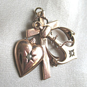 VALENTINE! Antique Victorian Pendant French Cross Heart Anchor Seed Pearls Gold Filled RARE!