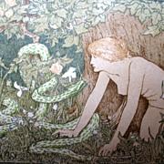 Antique ART NOUVEAU Print Woodcut 1897 John Dixon BATTEN Eve with Grass Serpent DIVINE!