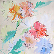 Vintage French Art DECO Watercolor Painting LARGE Floral Flowers STUNNING!