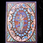 Vintage 20s French Art DECO Print Zodiac SIGNED DIVINE!