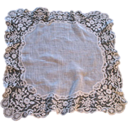 SOLD Antique LARGE French Brussels Wedding Bridal LACE Handkerchief Hankie DIVINE!
