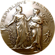Antique Edwardian FRENCH Bronze Medal Beautiful LADIES Signed LISTED!