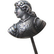 SOLD Antique French Edwardian Stickpin Silver Pin JOAN OF ARC in Armor Very RARE!
